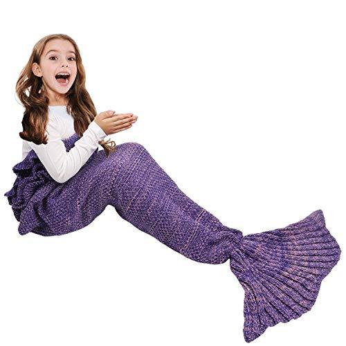AmyHomie Mermaid Tail Blanket, Mermaid Blanket Adult Mermaid Tail Blanket, Crotchet Kids Mermaid Tail Blanket for Girls (Darkpurple, Kids)