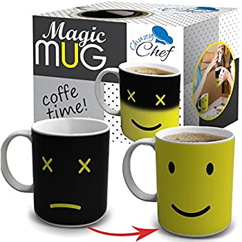 Magic Morning Coffee Mug, Yellow 12 Oz Heat Sensitive Color and Face Changing Ceramic Tea Cup, By Chuzy Chef