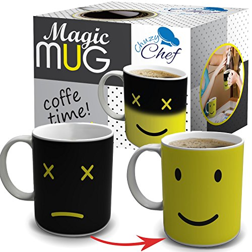 Magic Morning Coffee Mug, Yellow 12 Oz Heat Sensitive Color and Face Changing Ceramic Tea Cup, By Chuzy Chef®