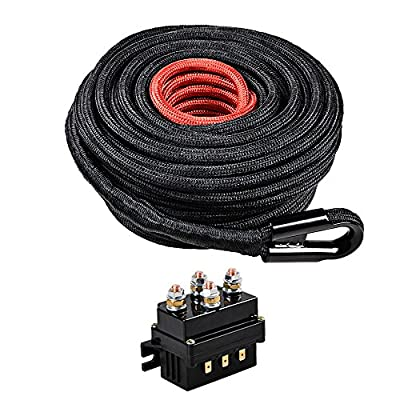 """Combo BLACK 85ft x 3/8"""" Synthetic Winch Rope Cable Heat and Rock Guard + 12V 500A Winch Solenoid Relay for 8000lbs-12000lbs ATV UTV 4WD 4x4 Winches Replacement"""