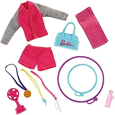 Barbie Gymnastics Playset with Barbie Coach Doll, Small Doll, Spinning Bar, Hoops, Ribbon & 5+ Accessories: Toys & Games