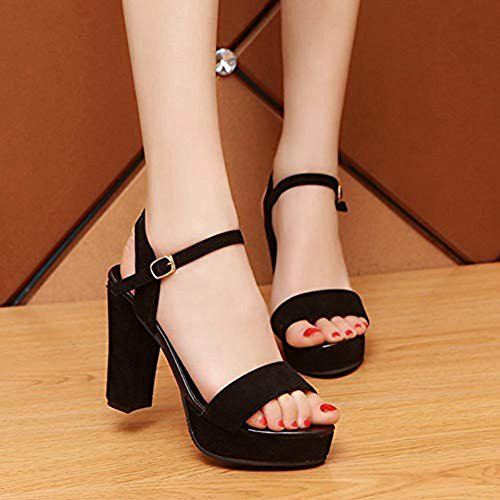 Peep Sandals Suede Shoes Heel Toe Slides Buckle Chunky JULY High Strap Women's Block Black Ankle Sexy T Platform Dress Yx8wETP