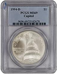 1994 D US Capitol Commemorative BU Silver Dollar PCGS MS69