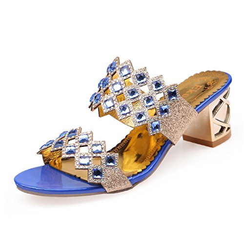 Haut Chaussures Dames Outs Hot Party Lumino Mode Femme Femmes Sandales Talon Cut Blue Sandales Strass D'été wfq0Rxv7