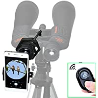 Gosky Universal Cell Phone Adapter and Wireless Bluetooth Remote Controller Kit - Spotting Scope Binocular Monocular Telescope and Microscope Adapter for Iphone Samsung Etc