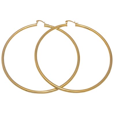 b00f82ec0f51c 14k Gold Plated Hoop Earrings - Small, Medium, or Large - 20mm - 76mm Sizes  + Microfiber Polishing Cloth