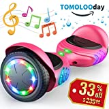 TOMOLOO Hoverboard with Bluetooth Speaker Smart Scooter Two-Wheel Self Balancing Electric Scooter and LED Lights - Black Hover Board with UL2272 Certified for Adults and Children. (Q2c-PINK)