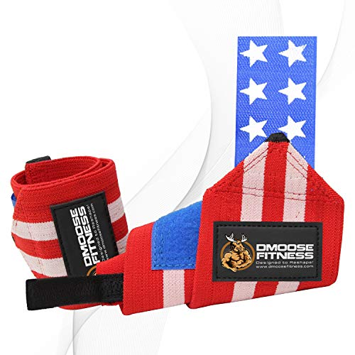 DMoose Fitness Wrist Wraps - Premium Quality, Strong Fastening Straps, Thumb Loops - Maximize Your Weightlifting, Powerlifting, Bodybuilding, Strength Training & Crossfit ... (Weight Lifting Wrist Wraps With Thumb Loop)