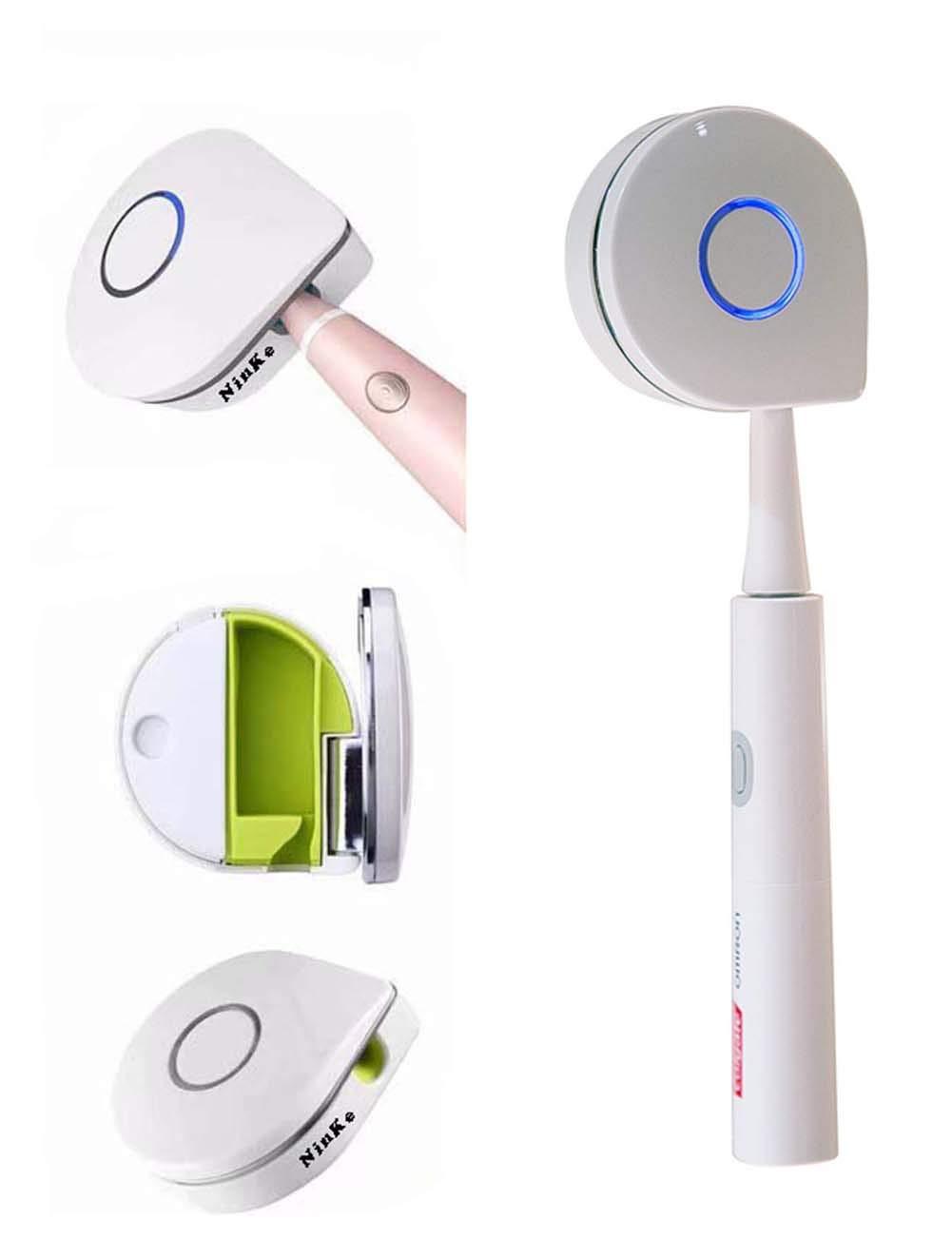 UV歯ブラシSanitizer ,紫外線抗菌歯ブラシクリーナー、ポータブル歯ブラシSterilizer with 2 changeableライナー、USB充電 B07172WW3Q  ホワイト