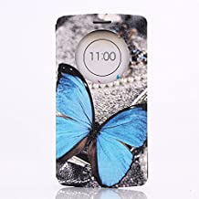 LG G3 Case, GOODTONY [Quick Circle Window] [Slim Fit] Premium [Cartoon Cute Printing] PU Leather Ultra Slim Flip Smart Cover for LG G3 (smile face) (Butterfly Pattern)