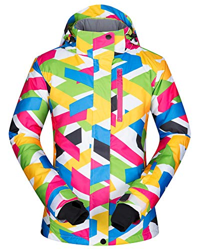 Women's Ski Jacket Outdoor Waterproof Windproof Coat Snowboard Mountain Rain Jacket SJW003 Stripe L