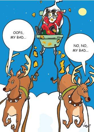 My Bad Poop on Santa Christmas Card