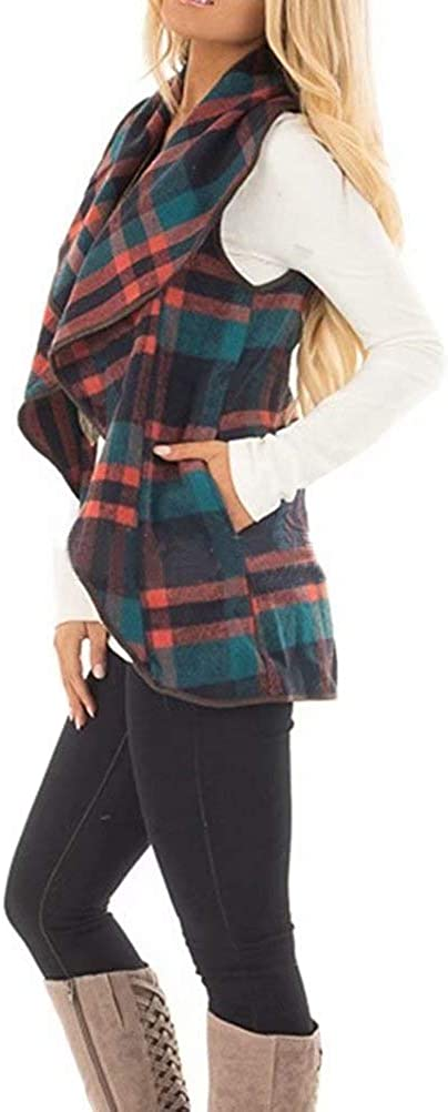 Soficy Womens Color Block Lapel Open Front Sleeveless Plaid Vest Cardigan with Pockets
