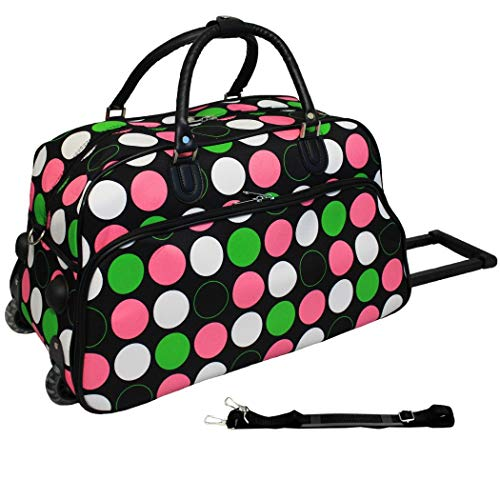 - Girls Pink Green Polka Dots Pattern Wheeled Duffle Bag Upright Rolling Duffle, Geometric Dotted Carry Duffel, Travel Wheeled Duffel Wheels, Fashionable, Wheeling Luggage