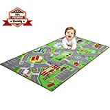 79''X40'' Kids Rug Play mat for Toy Cars, Safe,Colorful and Fun Play Rugs with Roads for Bedroom and Kid Rooms, Car Rug to Have Hours of Fun on,Area Rug Mat with Non-Slip and No Chemical Smell Backing