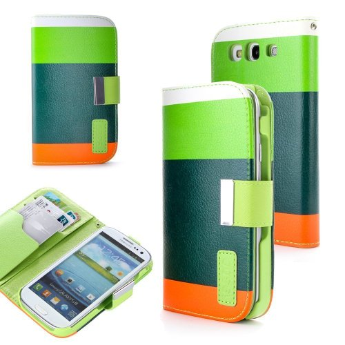 Importer520 Flip Synthetic PU Leather Slim Folio Folding Stand Case Wallet Pouch Card Holder with Lanyard for Samsung Galaxy S3 i9300 - Green+Dark Green+Orange ()