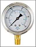 LIQUID FILLED PRESSURE GAUGE, 2.5' DIAL DISPLAY, STAINLESS STEEL CASE, BRASS INTERNALS, 1/4 MALE NPT LOWER MOUNT CONNECTION, DUAL SCALE PSI & BAR (0-100 PSI)