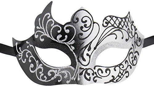 Burlesque Masks (Luxury Mask Assorted Venetian Party Mask, Black/Silver, One Size)