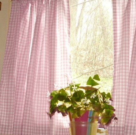 lovemyfabric Gingham/Checkered 100% Polyester Curtain Window Treatment/Decor Panel-Pink and White (1, 56″X84″)
