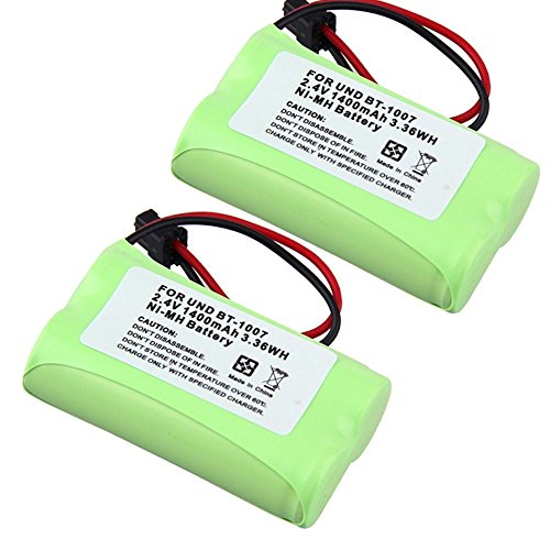 2.4V 2 AA 1400mAh Ni-MH Home Phone BT-1007 Battery Replacement For Uniden DECT 6.0 models BBTY0624001 (Pack of 2)