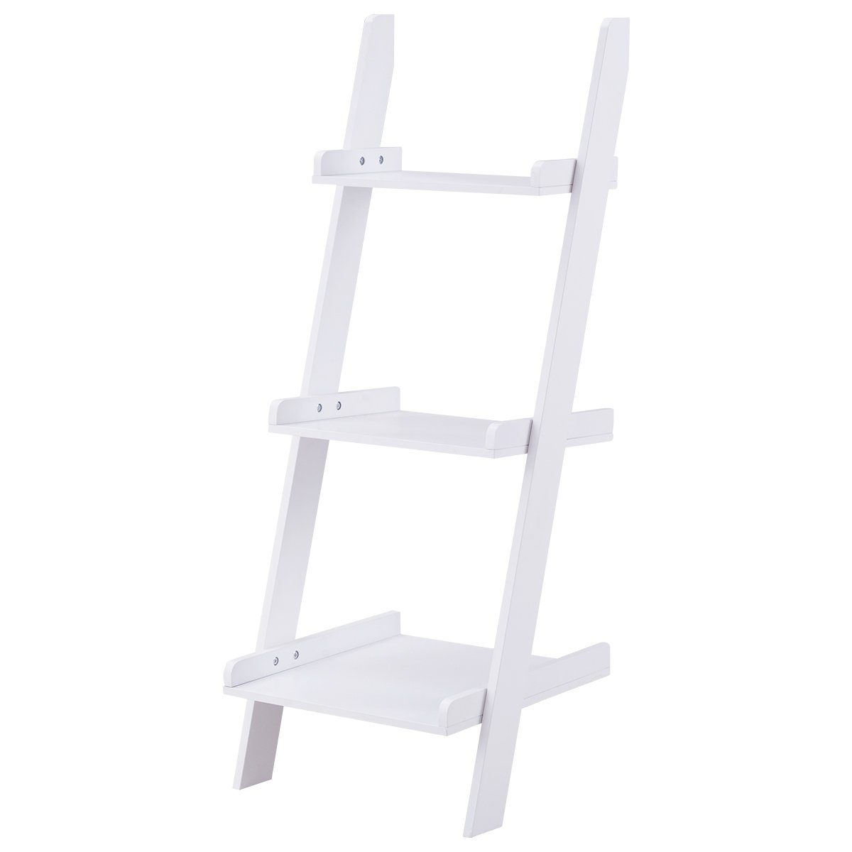Safeplus Three-layer rack Wooden shelf Home E1 MDF 3-Shelf Ladder Bookcase, White
