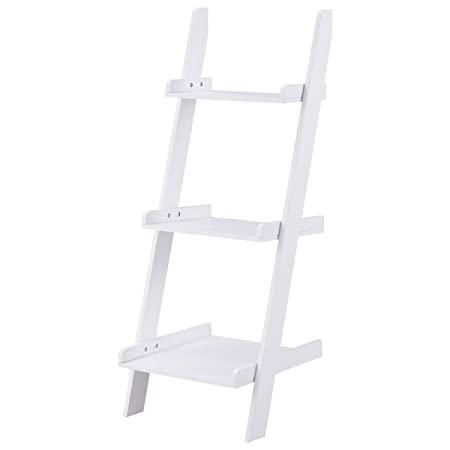Safeplus Three-layer rack Wooden shelf Home E1 MDF 3-Shelf Ladder Bookcase, White