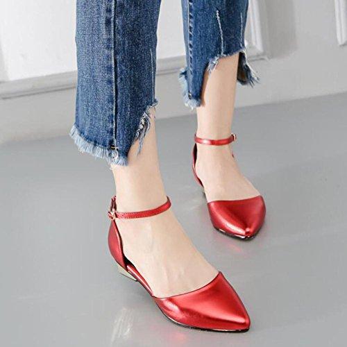 L@YC® Mujeres Puntiagudas Sandalias Palabra Hebilla Verano Fondo Plano Tacones altos Zapatos De Oficina Baile Vestir Red