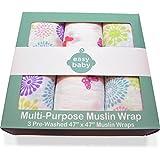 Easy Baby Multi-Purpose Muslin Swaddles - Flowers & Butterflies - 3 Pack