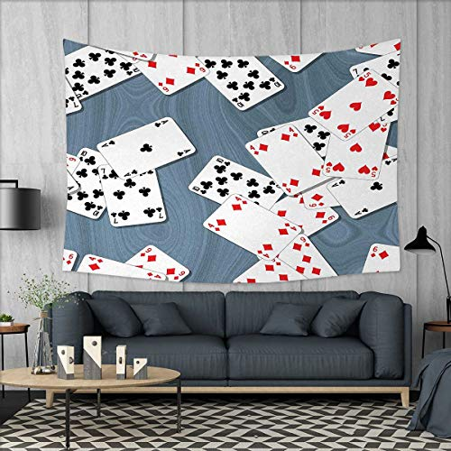 Anniutwo Casino Home Decorations for Living Room Bedroom Abstract Background with Playing Cards Metropolitan Tourist Attractions Wall Tapestry W80 x L60 (inch) Slate Blue Red Black