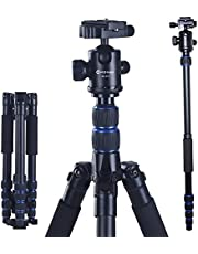 """Camera Tripod, Moman Aluminum Tripod Monopod with 360 Degree Ball Head, 1/4"""" Quick Release Plate and Carrying Case for DSLR Canon Nikon Sony -Load Capacity 33 lbs/15kg"""