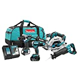 Makita DLX4091T 18V LXT 4 Piece Combo 5.0Ah Kit with 2 Batteries