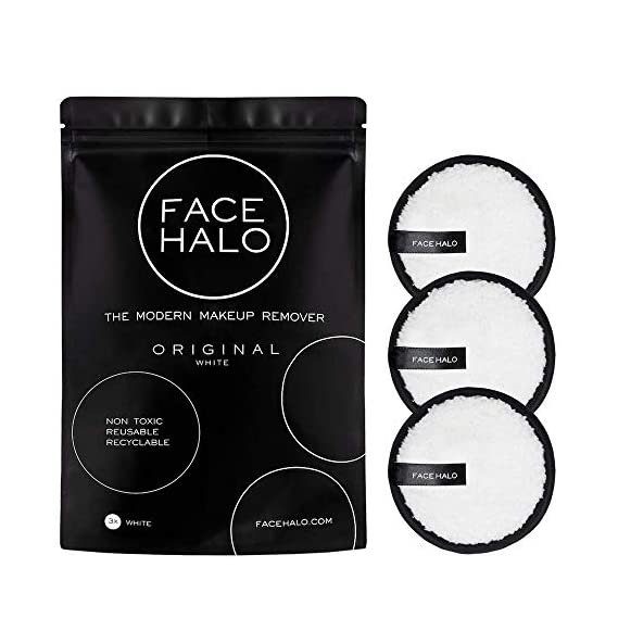 Face Halo Reusable Makeup Remover Pads, Round Makeup Remover Pads for Heavy Makeup & Masks - Microfiber Makeup Remover