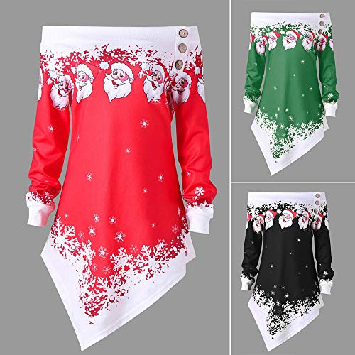 Shoulder RedBrowm Snowflake Santa Christmas Asymmetric Off Red Top Sweatshirt Printed xCaRqFpC