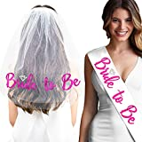 Diamond PINK Bride To Be Satin Sash White & Veil - Bachelorette Party Accessories for The Bride - White