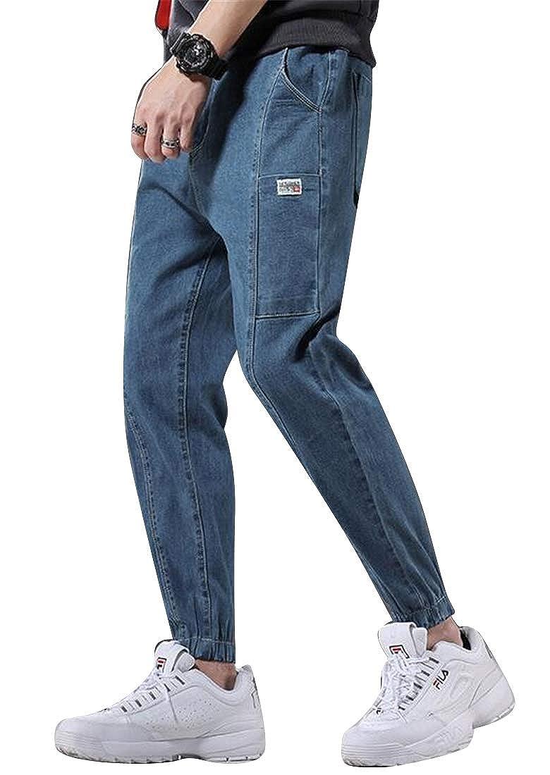 Domple Mens Elastic Waist Ankle Harem Casual Patchwork Jogger Cargo Denim Pants Jeans