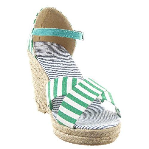 Sopily - Chaussure Mode Espadrille Sandale Plateforme hauteur cheville femmes corde Lignes Talon compensé plateforme 9.5 CM - Vert