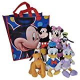 "Disney 11"" Plush Mickey Minnie Mouse Donald Daisy Duck Goofy Pluto 6-Pack in Tote Bag"