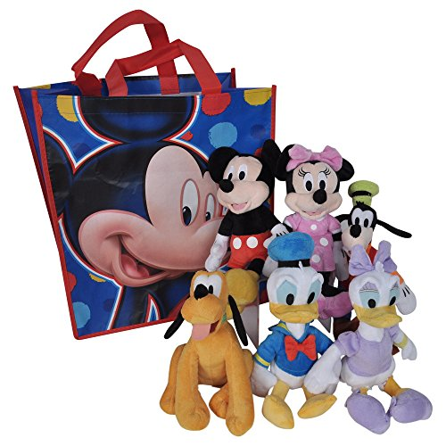 key Minnie Mouse Donald Daisy Duck Goofy Pluto 6-Pack in Tote Bag (Disney Character Plush Doll)