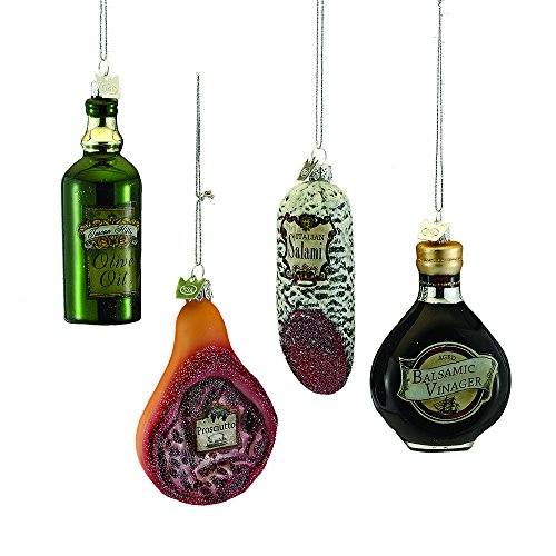Kurt Adler 5.25-inch Noble Gems Italian Food Ornaments, Set of 4