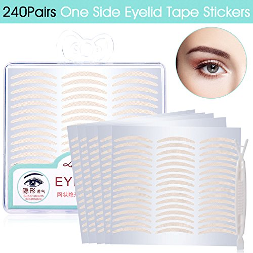 240 Pair Natural Invisible One Side Eyelid Tape Stickers - Instant Eye Lift Without Surgery - Perfect for Hooded, Droopy, Uneven, or Mono-eyelids (Natural Complexion, Slim) (Lift Eyelid Surgery)