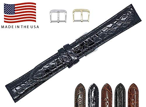 22mm Black Genuine Alligator - Padded Stitched – Glazed Shiny Smaller Tile – Watch Strap Band - Gold & Silver Buckles Included – Factory Direct - Made in The USA by Real Leather Creations FBA4