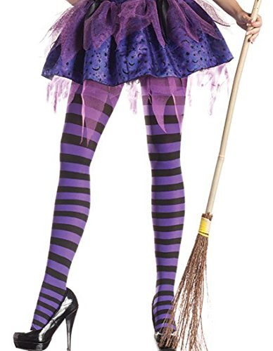 Black and Purple Striped Witch Pantyhose Tights Witch Tights -