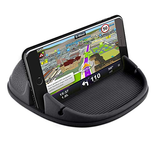 Phone Holder for Car, Besiva Car Phone Mount Silicone Phone Car Dashboard Car Pad Mat Various Dashboards, Anti-Slip Desk Phone Holder Compatible with iPhone, Android Smartphones, GPS (Deep Black)