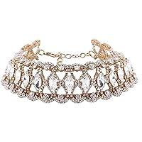 TEKIMBE Sexy Punk Wide Collar Necklace Jewelry Alloy Rhinestone Choker Bikini Beach Rock Chain for Women Girls
