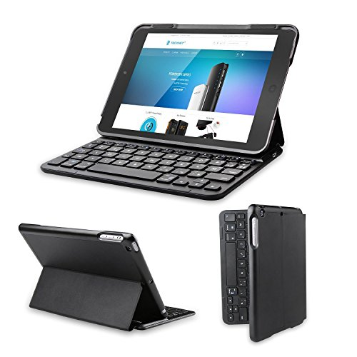 iPad Mini Bluetooth Tastatur, TeckNet® Appple iPad Mini Bluetooth Deutsche Tastatur Hülle Folio Keyboard Case für iPad mini 3 / mini 2 / mini - Smart Case mit Auto Sleep / Wake, Komfortable Tasten und Extra Lange Batterielaufzeit