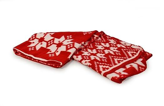 New Nordic Throw Fair Isle Nordic Soft Fleece Blanket - Red ...