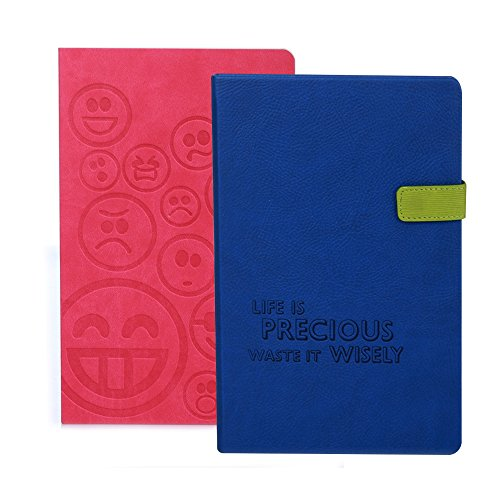 Doodle Set of 2 Notebooks- Smiley Pink & Life Is Precious Blue