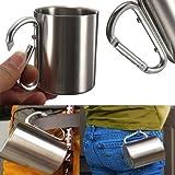 BatterElec(TM) 220ml Stainless Steel Coffee Mug Camping Outdoor Portable Cup Carabiner Hook NEW