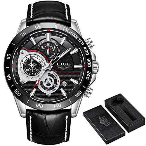 Mens Watches LIGE Top Brand Luxury Leather Waterproof Multi-function Quartz Watch mans Military Sport