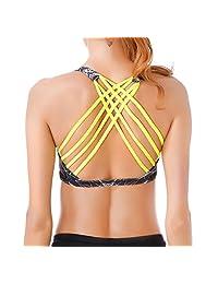Queenie Ke Women Light Support Cross-back Padded Yoga Sport Vest Bra